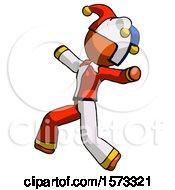 June 19th, 2018: Orange Jester Joker Man Running Away In Hysterical Panic Direction Left by Leo Blanchette
