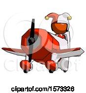 Orange Jester Joker Man Flying In Geebee Stunt Plane Viewed From Below