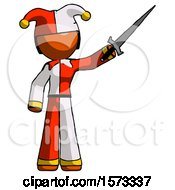 Orange Jester Joker Man Holding Sword In The Air Victoriously