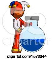 Orange Jester Joker Man Standing Beside Large Round Flask Or Beaker