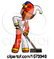 Orange Jester Joker Man Cleaning Services Janitor Sweeping Side View