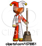 Orange Jester Joker Man Standing With Broom Cleaning Services