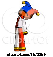Orange Jester Joker Man Depressed With Head Down Back To Viewer Right