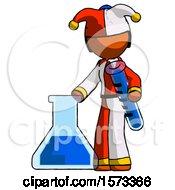 Orange Jester Joker Man Holding Test Tube Beside Beaker Or Flask