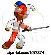 Orange Jester Joker Man Stabbing With Ninja Sword Katana
