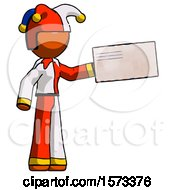 Orange Jester Joker Man Holding Large Envelope