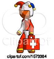Orange Jester Joker Man Walking With Medical Aid Briefcase To Left