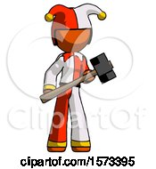 Orange Jester Joker Man With Sledgehammer Standing Ready To Work Or Defend