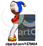 Orange Jester Joker Man Resting Against Server Rack