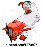 Orange Jester Joker Man In Geebee Stunt Plane Descending View