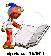 Poster, Art Print Of Orange Jester Joker Man Reading Big Book While Standing Beside It
