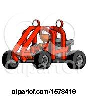 Orange Jester Joker Man Riding Sports Buggy Side Angle View