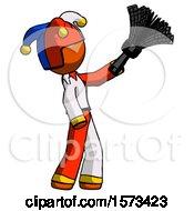 Orange Jester Joker Man Dusting With Feather Duster Upwards