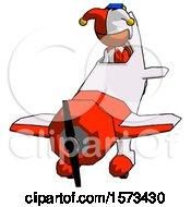 Orange Jester Joker Man In Geebee Stunt Plane Descending Front Angle View