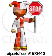 Orange Jester Joker Man Holding Stop Sign