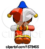 Orange Jester Joker Man Sitting With Head Down Facing Forward