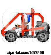 Poster, Art Print Of Orange Jester Joker Man Riding Sports Buggy Side View
