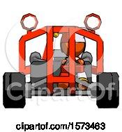Poster, Art Print Of Orange Jester Joker Man Riding Sports Buggy Front View