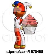 Orange Jester Joker Man Holding Large Cupcake Ready To Eat Or Serve