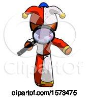 Orange Jester Joker Man Looking Down Through Magnifying Glass