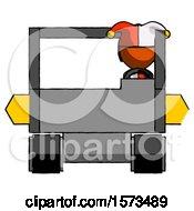 Poster, Art Print Of Orange Jester Joker Man Driving Amphibious Tracked Vehicle Front View
