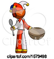 Orange Jester Joker Man With Empty Bowl And Spoon Ready To Make Something