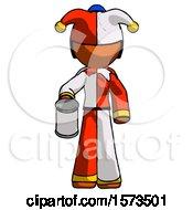 Orange Jester Joker Man Begger Holding Can Begging Or Asking For Charity