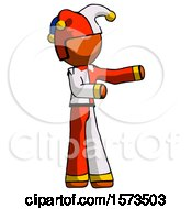 Orange Jester Joker Man Presenting Something To His Left