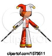 Orange Jester Joker Man Posing With Two Ninja Sword Katanas