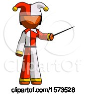 Orange Jester Joker Man Teacher Or Conductor With Stick Or Baton Directing