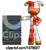 Orange Jester Joker Man With Server Rack Leaning Confidently Against It