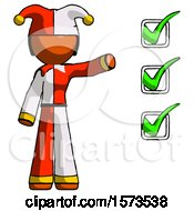 Orange Jester Joker Man Standing By List Of Checkmarks