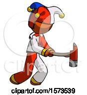 Orange Jester Joker Man With Ax Hitting Striking Or Chopping