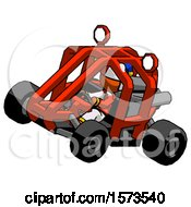 Poster, Art Print Of Orange Jester Joker Man Riding Sports Buggy Side Top Angle View