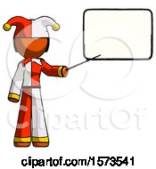 Poster, Art Print Of Orange Jester Joker Man Giving Presentation In Front Of Dry-Erase Board