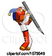 Orange Jester Joker Man Stabbing Or Cutting With Scalpel