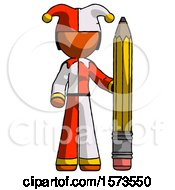 Orange Jester Joker Man With Large Pencil Standing Ready To Write
