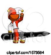 Orange Jester Joker Man Riding A Pen Like A Giant Rocket
