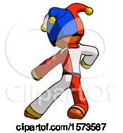 June 19th, 2018: Orange Jester Joker Man Karate Defense Pose Left by Leo Blanchette