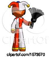 Orange Jester Joker Man Holding Feather Duster Facing Forward