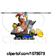 Orange Jester Joker Man Flying In Gyrocopter Front Side Angle View