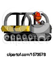 Poster, Art Print Of Orange Jester Joker Man Driving Amphibious Tracked Vehicle Side Angle View