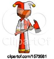 Orange Jester Joker Man Holding Red Fire Fighters Ax