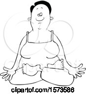 Lineart Relaxed Black Woman Meditating Or Doing Yoga