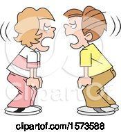 Clipart Of A Cartoon Boy And Girl During A Stand Off Yelling At Each Other Royalty Free Vector Illustration by Johnny Sajem