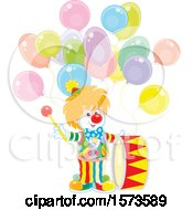 Cute Clown With A Drum And Balloons