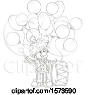 Lineart Cute Clown With A Drum And Party Balloons