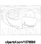 Clipart Of A Lineart Swimming Cachalot Sperm Whale Royalty Free Vector Illustration