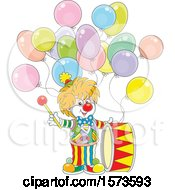 Clipart Of A Cute Clown With A Drum And Party Balloons Royalty Free Vector Illustration by Alex Bannykh