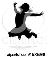 Silhouetted Girl Jumping With A Reflection Or Shadow On A White Background